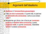 argomenti dell idealismo