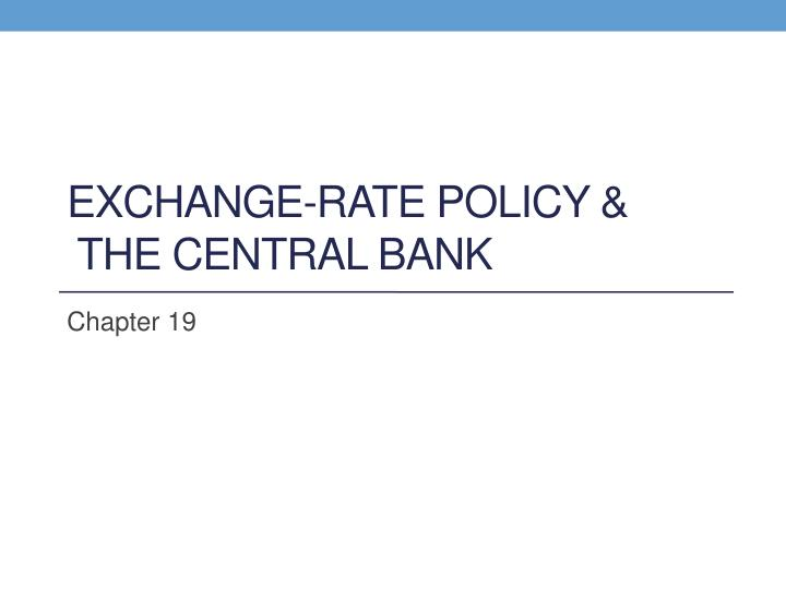 exchange rate policy the central bank n.