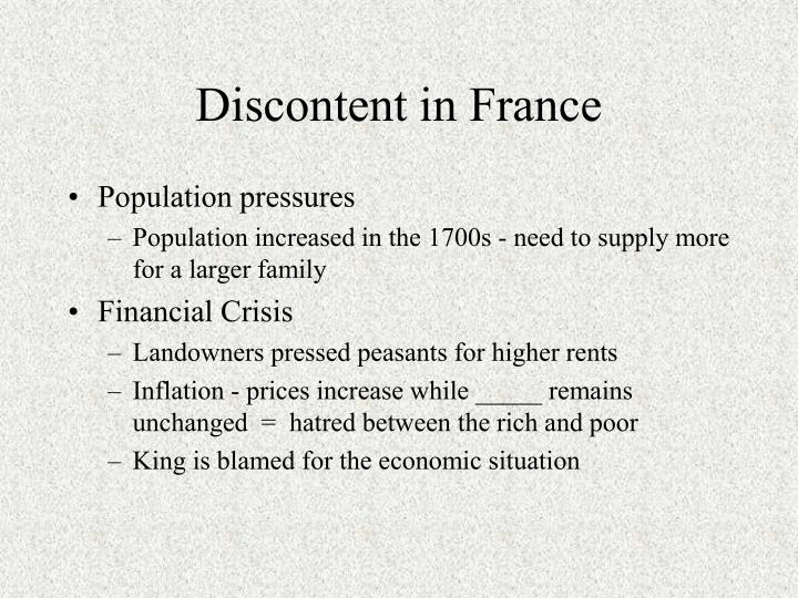 Discontent in France