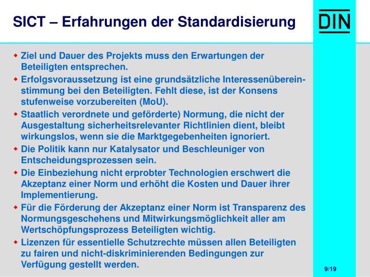 SICT – Erfahrungen der Standardisierung