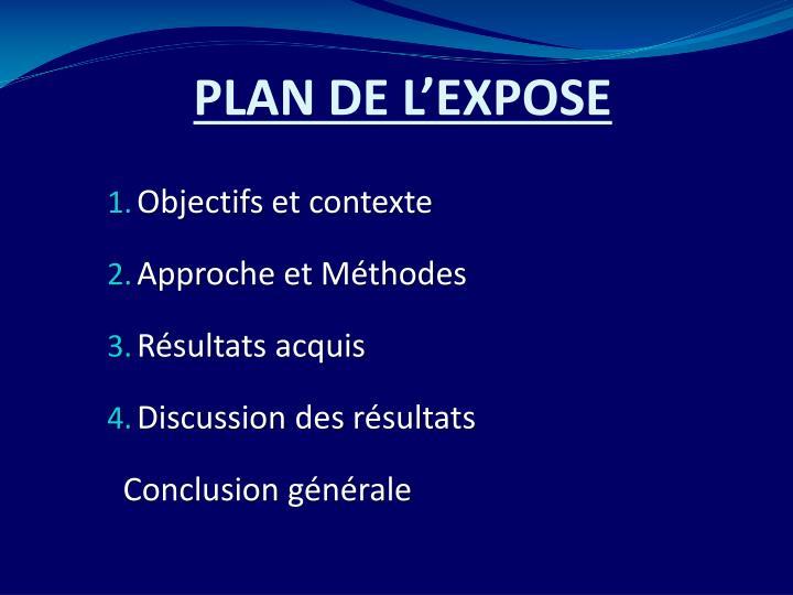Plan de l expose