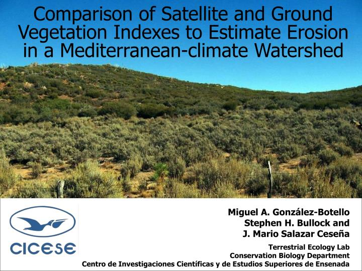 Comparison of Satellite and Ground Vegetation Indexes to Estimate Erosion in a Mediterranean-climate Watershed