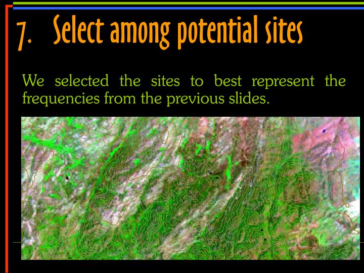 7.	Select among potential sites