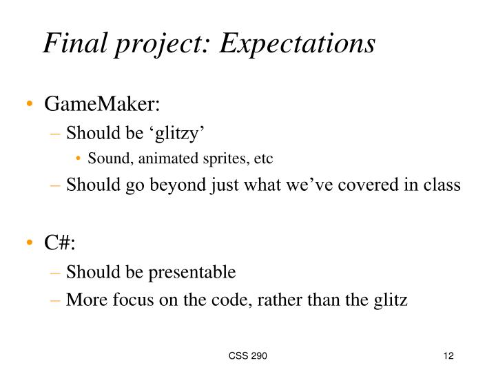 Final project: Expectations