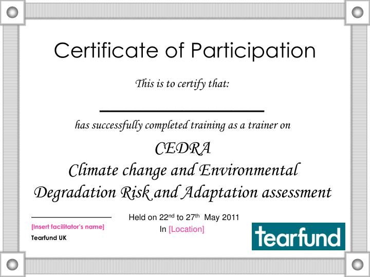 certificate of participation n.