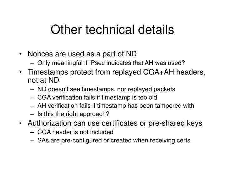 Other technical details