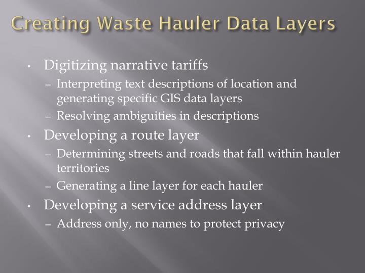 Creating Waste Hauler Data Layers