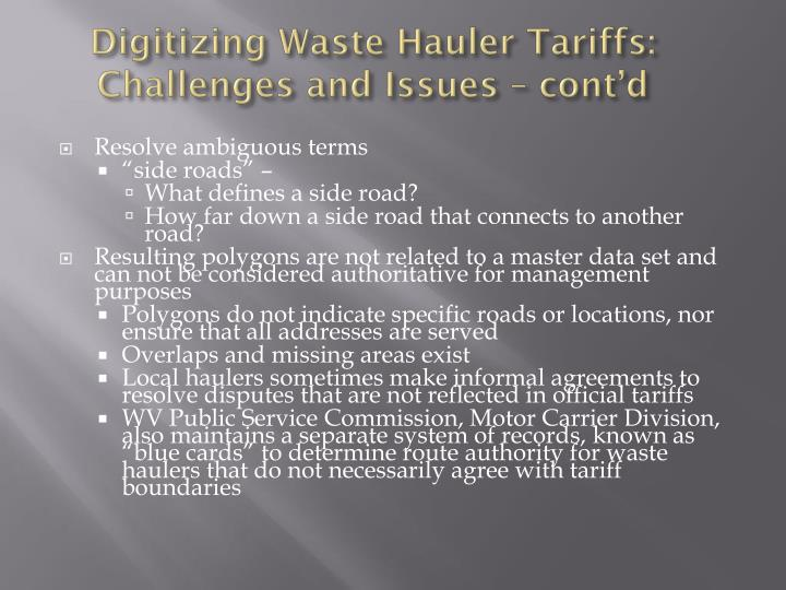 Digitizing Waste Hauler Tariffs: Challenges and Issues – cont'd