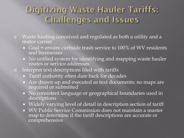 Digitizing Waste Hauler Tariffs: Challenges and Issues
