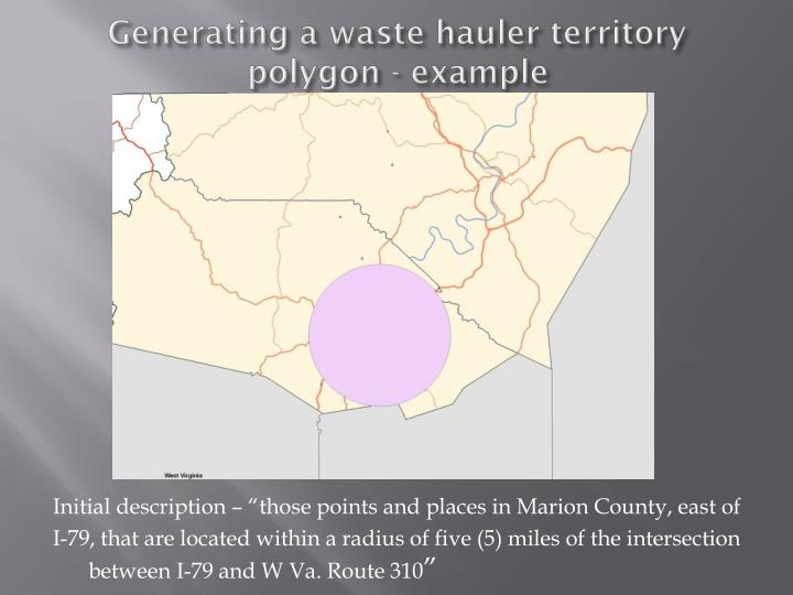 Generating a waste hauler territory polygon - example