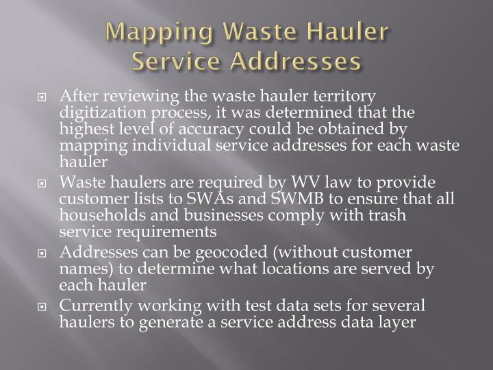 Mapping Waste Hauler