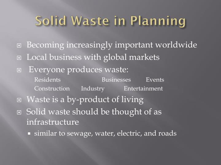 Solid Waste in Planning