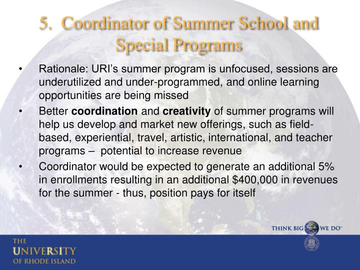 5.  Coordinator of Summer School and Special Programs