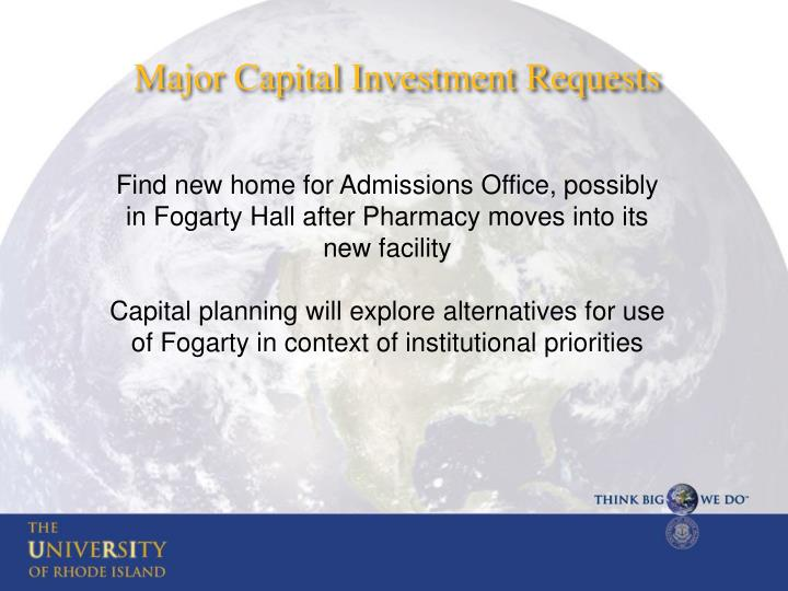 Major Capital Investment Requests