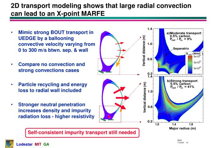 2D transport modeling shows that large radial convection can lead to an X-point MARFE