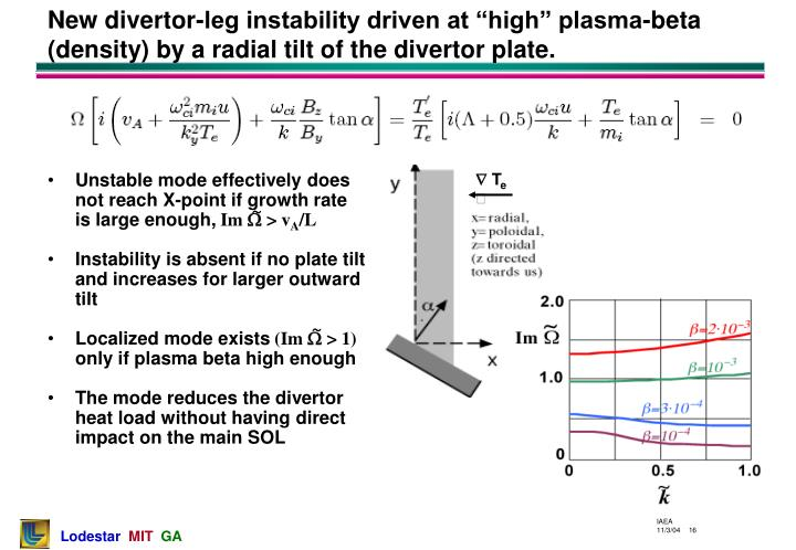 Unstable mode effectively does not reach X-point if growth rate is large enough,