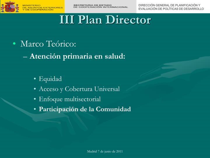 Iii plan director