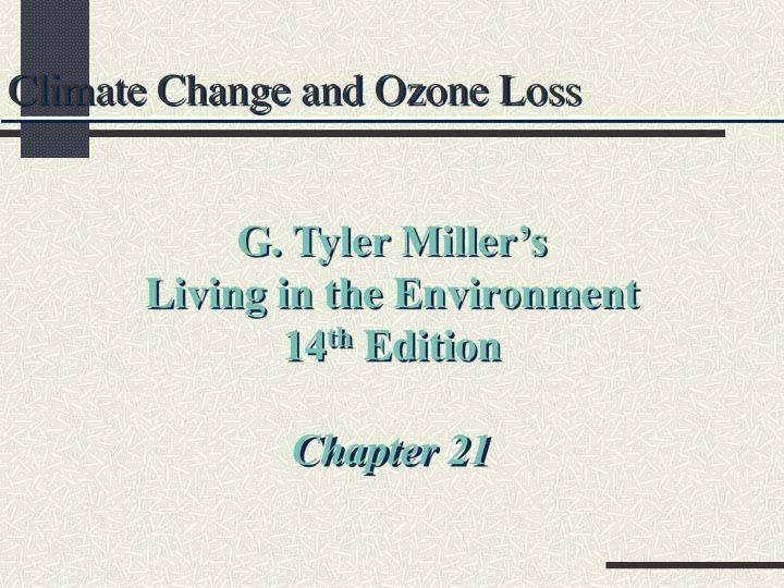 climate change and ozone loss n.