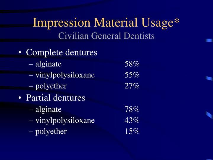Impression Material Usage*