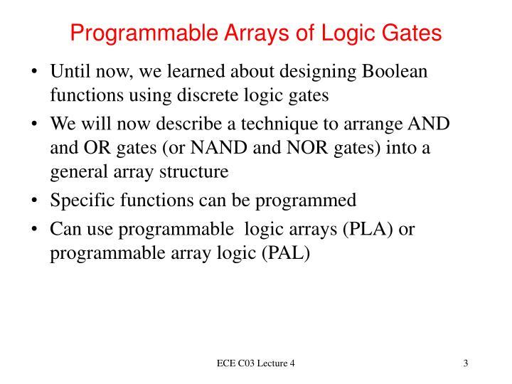 Programmable arrays of logic gates