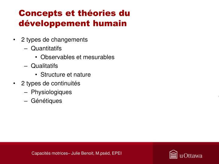 Concepts et th ories du d veloppement humain