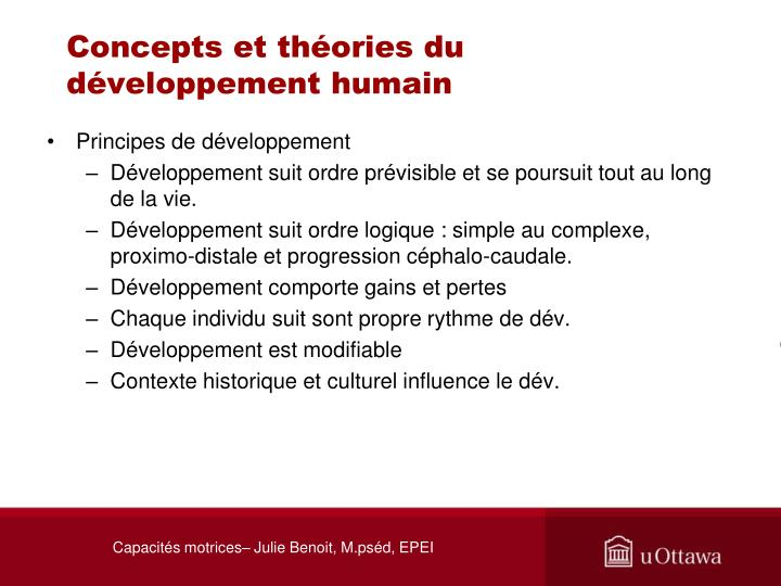 Concepts et th ories du d veloppement humain1