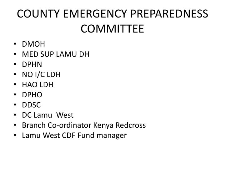 COUNTY EMERGENCY PREPAREDNESS COMMITTEE