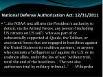national defense authorization act 12 31 2011