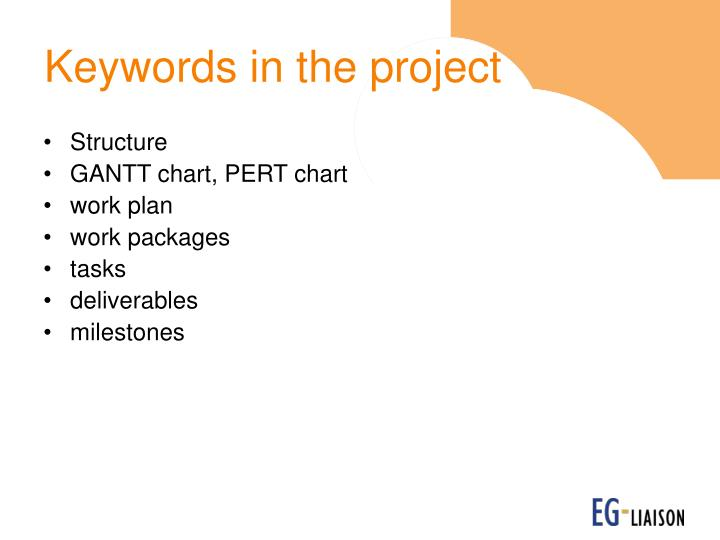 Keywords in the project