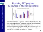 financing art program by sources of financing agencies