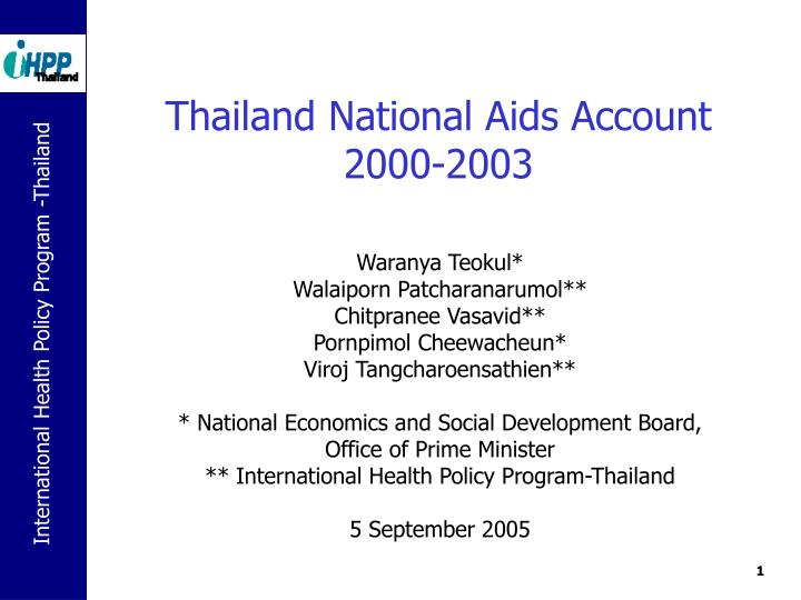 thailand national aids account 2000 2003 n.
