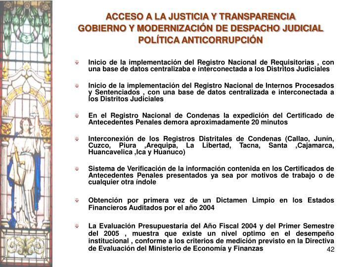 ACCESO A LA JUSTICIA Y TRANSPARENCIA