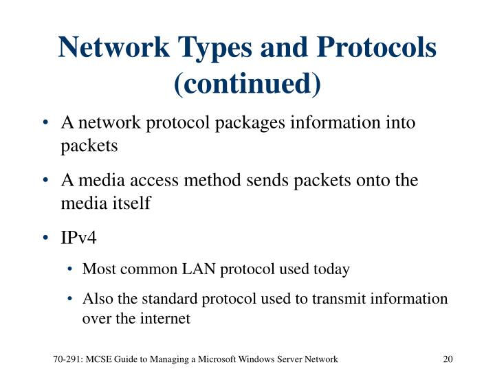 Network Types and Protocols (continued)