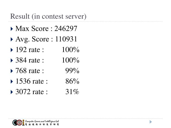 Result (in contest server)