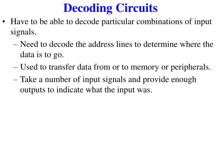 Decoding Circuits