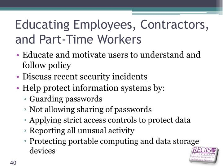 Educating Employees, Contractors, and Part-Time Workers