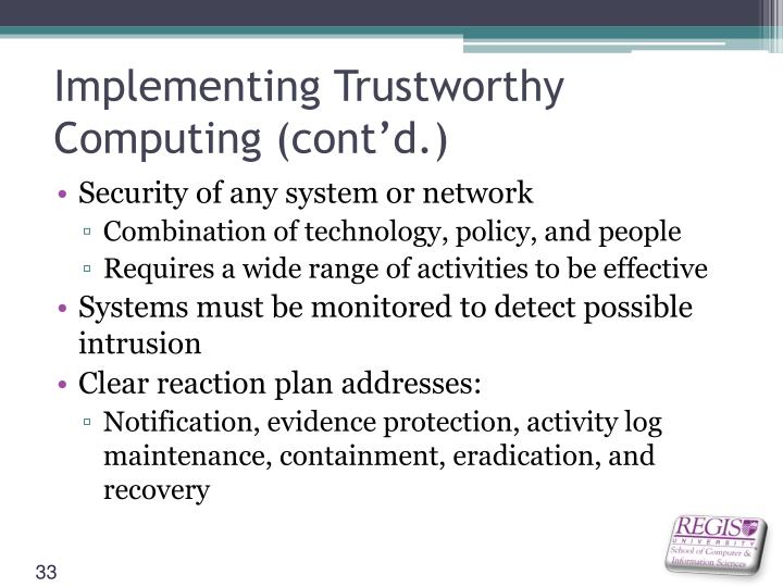 Implementing Trustworthy Computing (cont'd.)