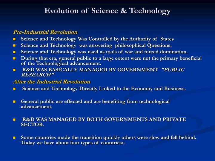 Evolution of science technology