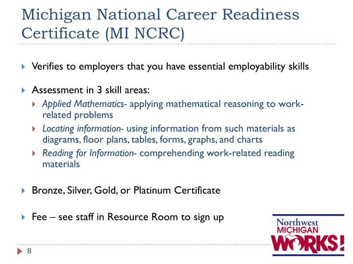 Michigan National Career Readiness Certificate (MI NCRC)