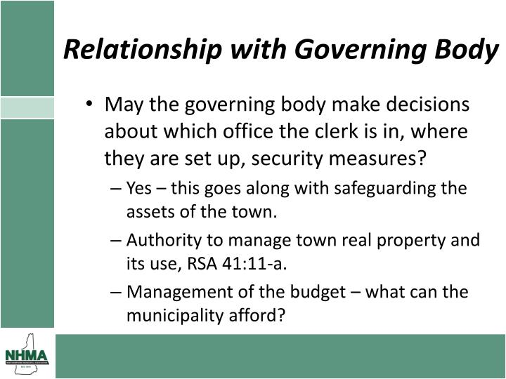Relationship with Governing Body