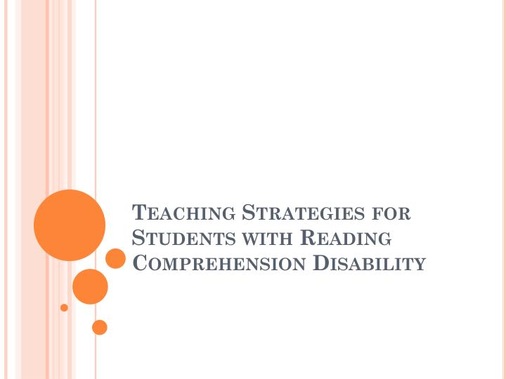 teaching strategies for students with reading comprehension disability n.