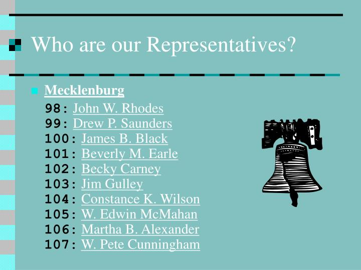 Who are our Representatives?
