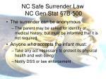 nc safe surrender law nc gen stat 7b 5001