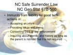 nc safe surrender law nc gen stat 7b 5002