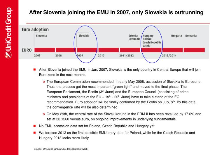 After Slovenia joining the EMU in 2007, only Slovakia is outrunning