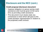 disclosure and the ncc cont