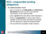 ncc r esponsible lending obligations