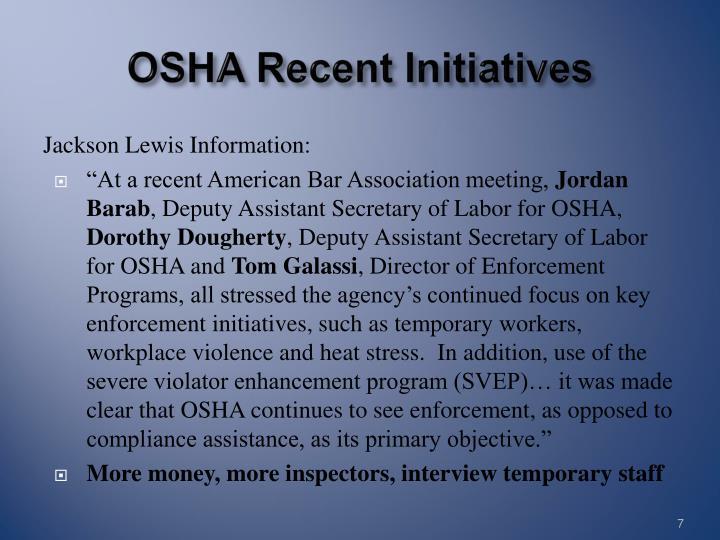 OSHA Recent Initiatives