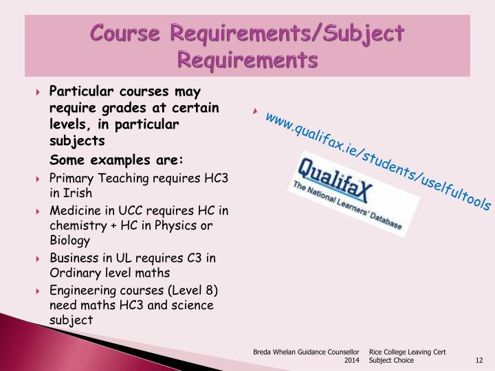 Course Requirements/Subject Requirements