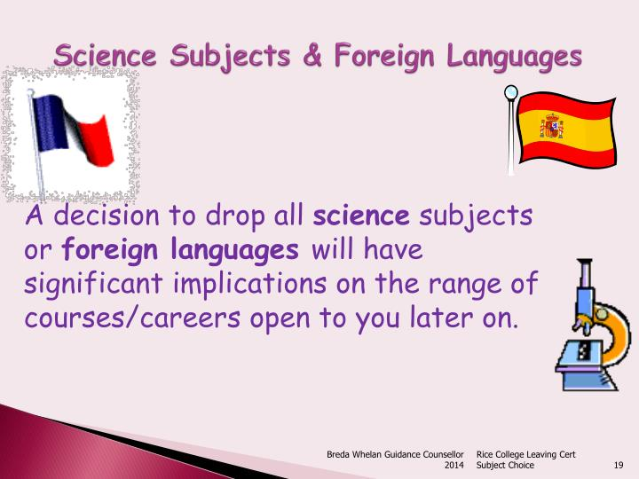 Science Subjects & Foreign Languages